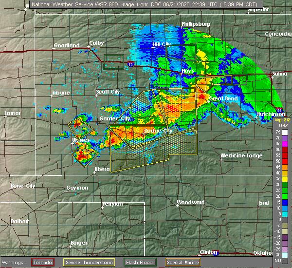 Radar Image for Severe Thunderstorms near Satanta, KS at 6/21/2020 5:43 PM CDT