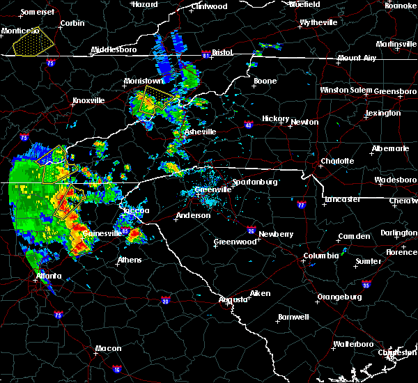 Radar Image for Severe Thunderstorms near Gumlog, GA at 6/21/2020 6:45 PM EDT