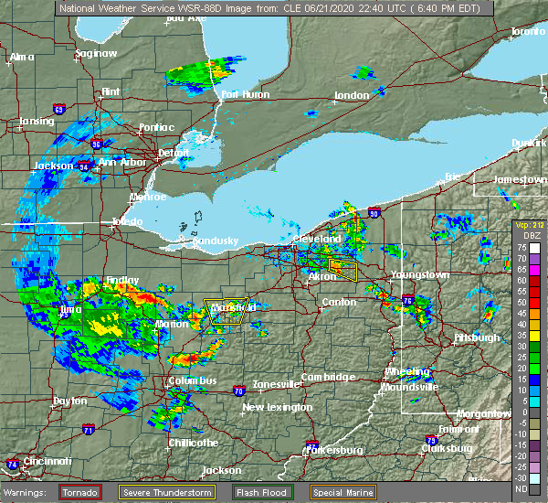 Radar Image for Severe Thunderstorms near Mount Gilead, OH at 6/21/2020 6:57 PM EDT