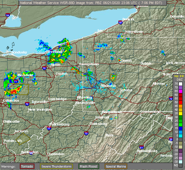 Radar Image for Severe Thunderstorms near Kittanning, PA at 6/21/2020 7:11 PM EDT