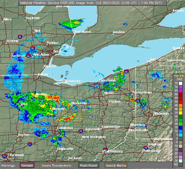 Radar Image for Severe Thunderstorms near Mount Gilead, OH at 6/21/2020 7:15 PM EDT