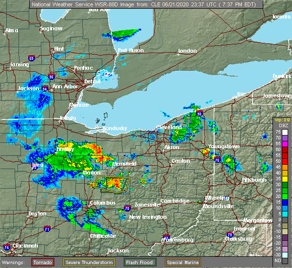 Radar Image for Severe Thunderstorms near Clyde, OH at 6/21/2020 7:42 PM EDT