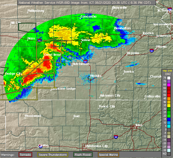 Radar Image for Severe Thunderstorms near Kingman, KS at 6/21/2020 6:45 PM CDT