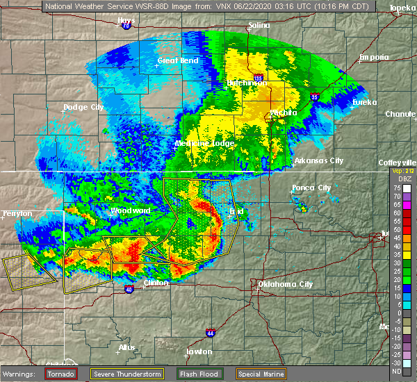 Radar Image for Severe Thunderstorms near Kingfisher, OK at 6/21/2020 10:27 PM CDT