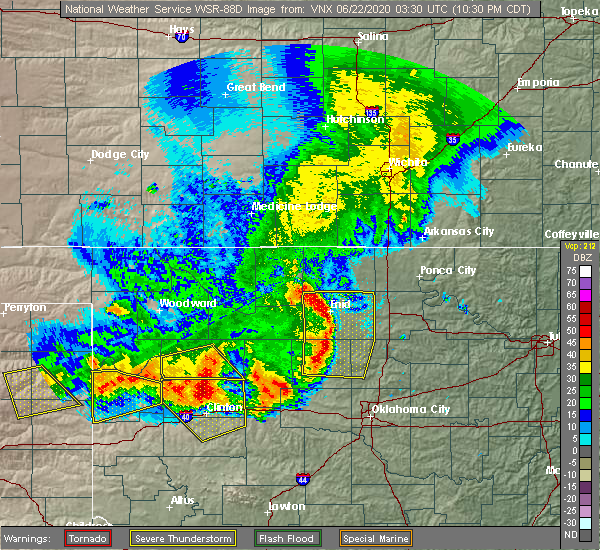 Radar Image for Severe Thunderstorms near Taloga, OK at 6/21/2020 10:38 PM CDT