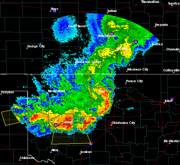 Radar Image for Severe Thunderstorms near Fairmont, OK at 6/21/2020 11:00 PM CDT