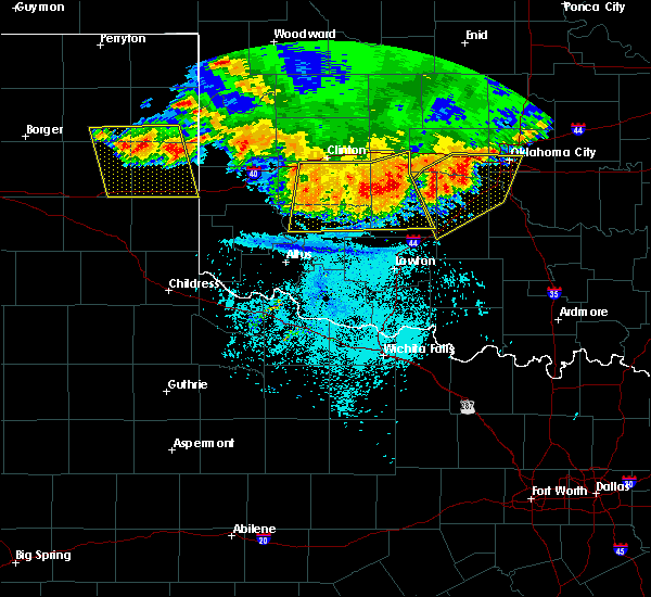Radar Image for Severe Thunderstorms near Burns Flat, OK at 6/21/2020 11:30 PM CDT