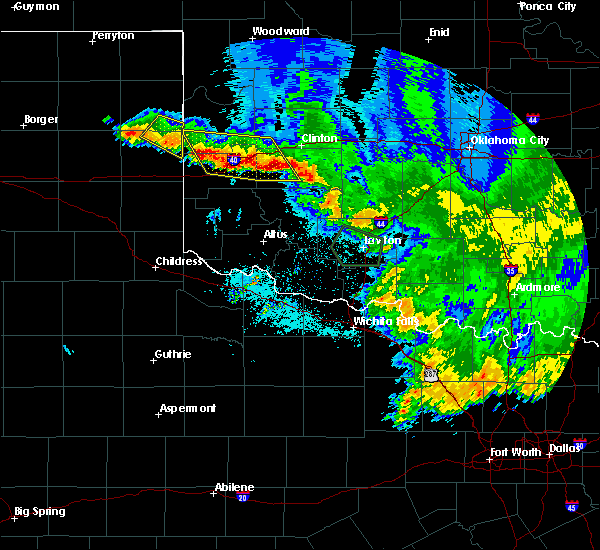 Radar Image for Severe Thunderstorms near Burns Flat, OK at 6/22/2020 2:56 AM CDT