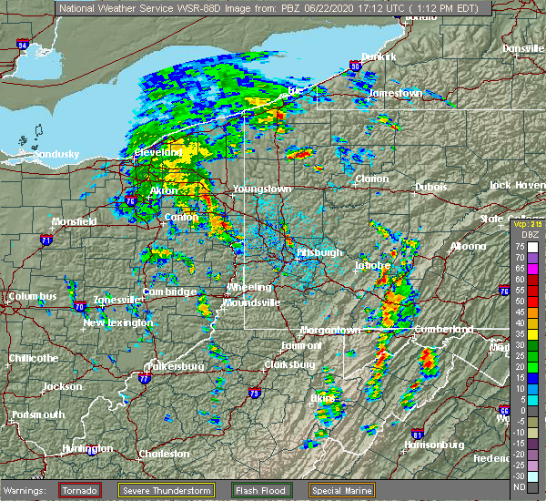 Radar Image for Severe Thunderstorms near Warren, OH at 6/22/2020 1:20 PM EDT