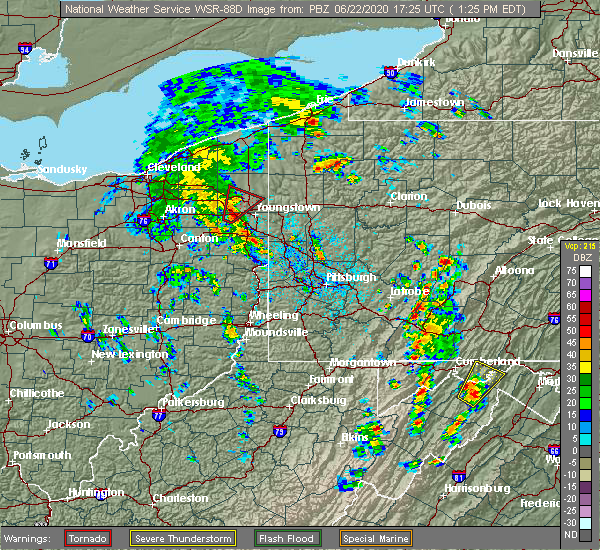 Radar Image for Severe Thunderstorms near Laurel Mountain, PA at 6/22/2020 1:30 PM EDT