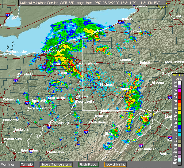 Radar Image for Severe Thunderstorms near Lordstown, OH at 6/22/2020 1:37 PM EDT