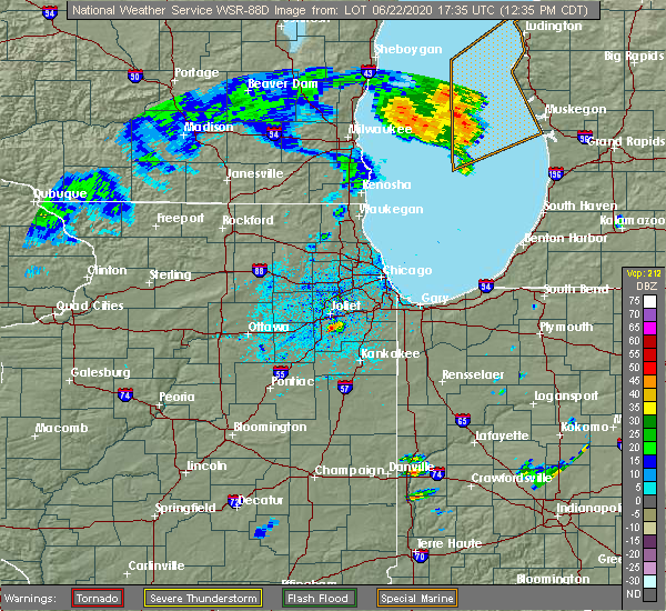 Radar Image for Severe Thunderstorms near Fairmont, IL at 6/22/2020 12:39 PM CDT