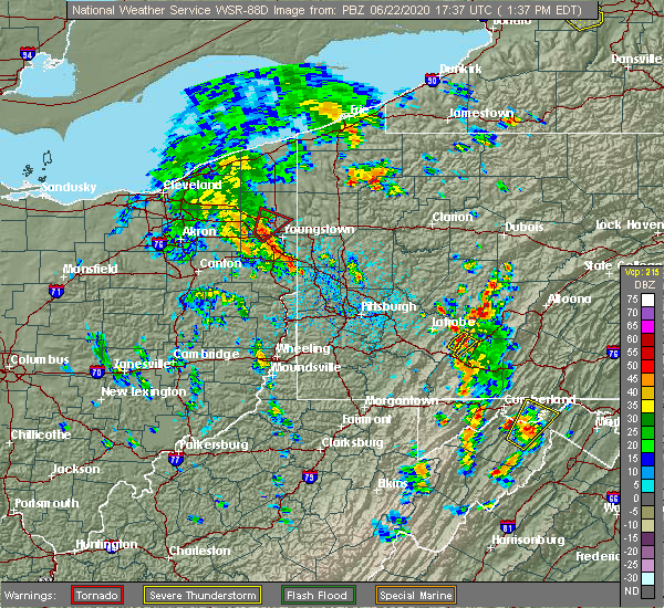 Radar Image for Severe Thunderstorms near Warren, OH at 6/22/2020 1:43 PM EDT