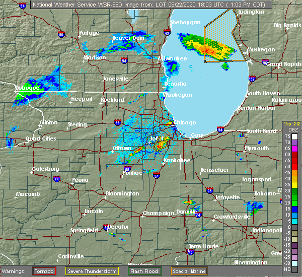 Radar Image for Severe Thunderstorms near Manhattan, IL at 6/22/2020 1:06 PM CDT