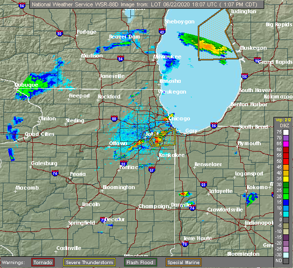 Radar Image for Severe Thunderstorms near Dixmoor, IL at 6/22/2020 1:15 PM CDT
