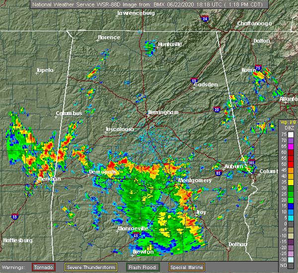Radar Image for Severe Thunderstorms near Clanton, AL at 6/22/2020 1:22 PM CDT