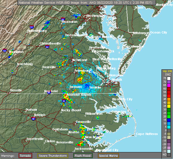 Radar Image for Severe Thunderstorms near Manchester, VA at 6/22/2020 2:23 PM EDT
