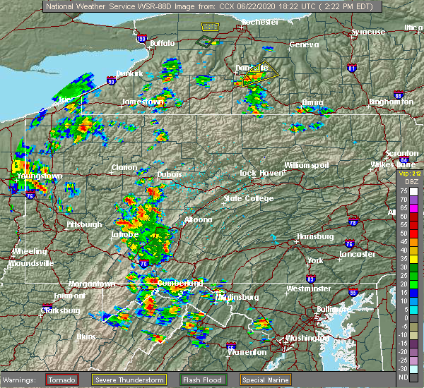 Radar Image for Severe Thunderstorms near Timblin, PA at 6/22/2020 2:27 PM EDT