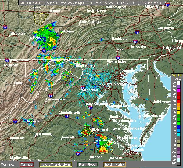 Radar Image for Severe Thunderstorms near Basye, VA at 6/22/2020 2:33 PM EDT