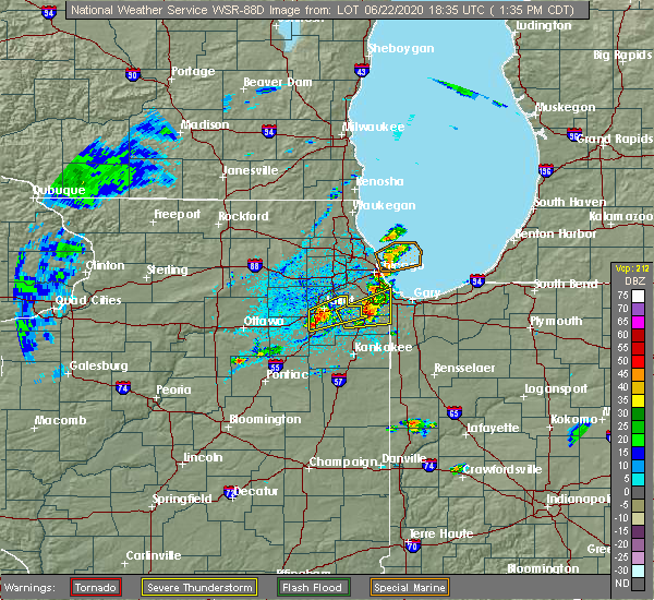 Radar Image for Severe Thunderstorms near Chicago Heights, IL at 6/22/2020 1:41 PM CDT