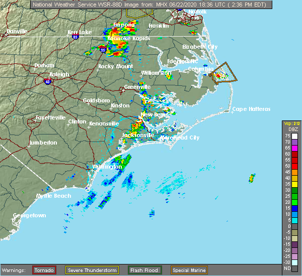 Radar Image for Severe Thunderstorms near Stonewall, NC at 6/22/2020 2:43 PM EDT