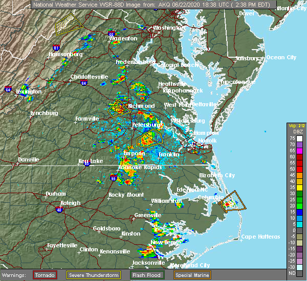 Radar Image for Severe Thunderstorms near Wakefield, VA at 6/22/2020 2:44 PM EDT