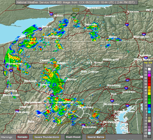 Radar Image for Severe Thunderstorms near Timblin, PA at 6/22/2020 2:50 PM EDT