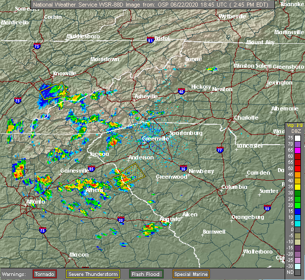 Radar Image for Severe Thunderstorms near Lake Secession, SC at 6/22/2020 2:51 PM EDT