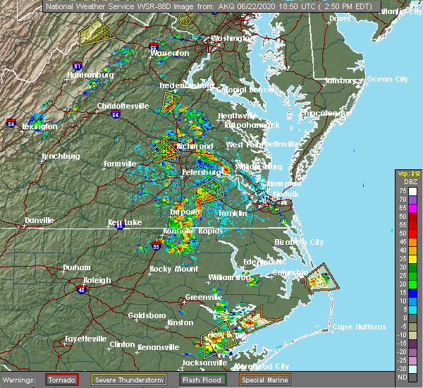 Radar Image for Severe Thunderstorms near Wakefield, VA at 6/22/2020 2:58 PM EDT