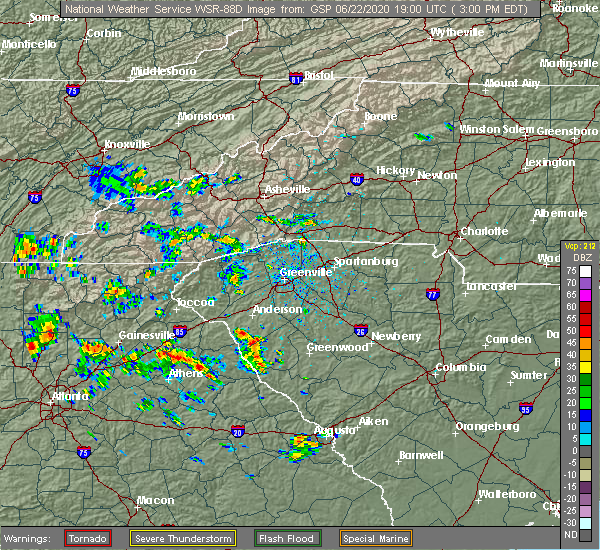 Radar Image for Severe Thunderstorms near Powdersville, SC at 6/22/2020 3:06 PM EDT