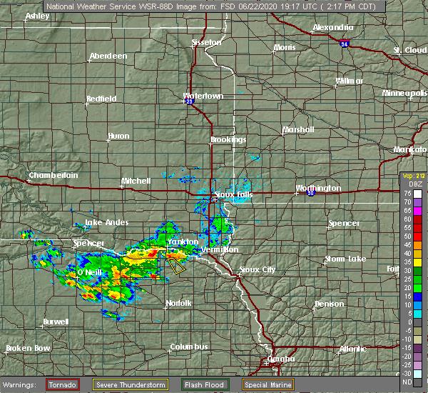 Radar Image for Severe Thunderstorms near Fordyce, NE at 6/22/2020 2:19 PM CDT