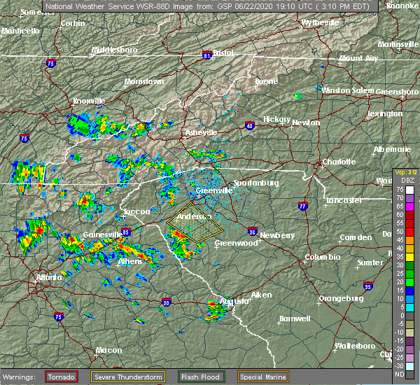 Radar Image for Severe Thunderstorms near Anderson, SC at 6/22/2020 3:24 PM EDT