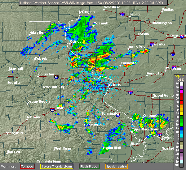 Radar Image for Severe Thunderstorms near Pearl, IL at 6/22/2020 2:26 PM CDT