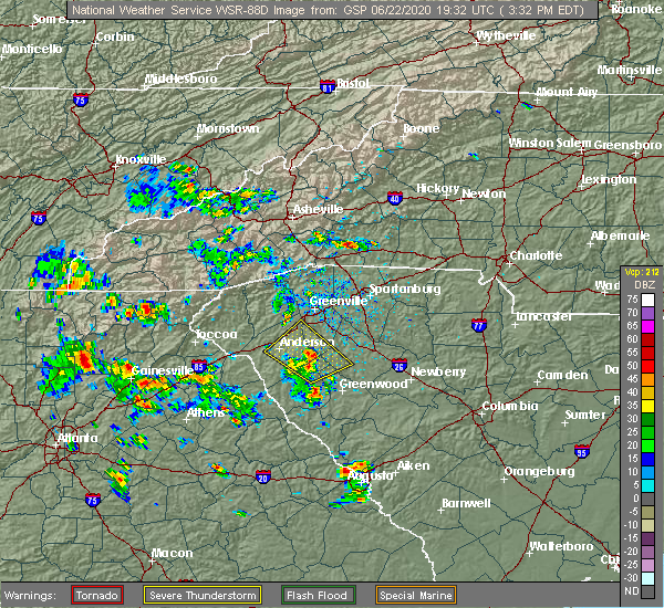 Radar Image for Severe Thunderstorms near Taylors, SC at 6/22/2020 3:40 PM EDT