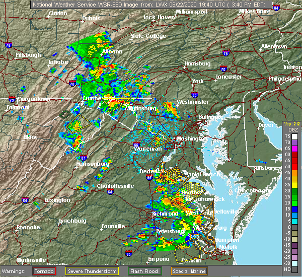 Radar Image for Severe Thunderstorms near Oak Grove, VA at 6/22/2020 3:47 PM EDT