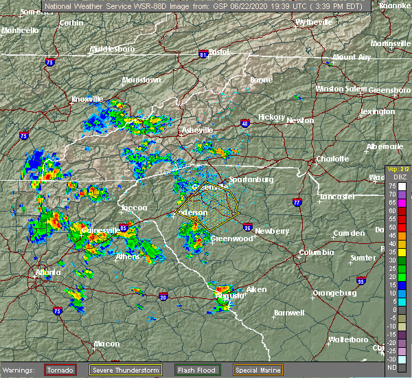 Radar Image for Severe Thunderstorms near Reidville, SC at 6/22/2020 3:52 PM EDT