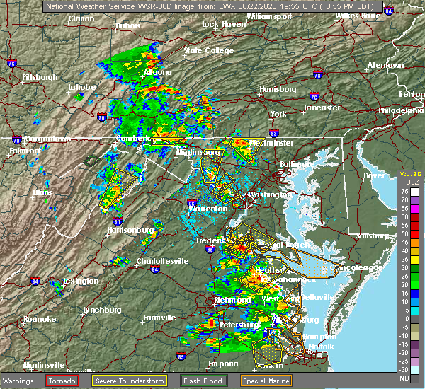 Radar Image for Severe Thunderstorms near Oak Grove, VA at 6/22/2020 4:01 PM EDT