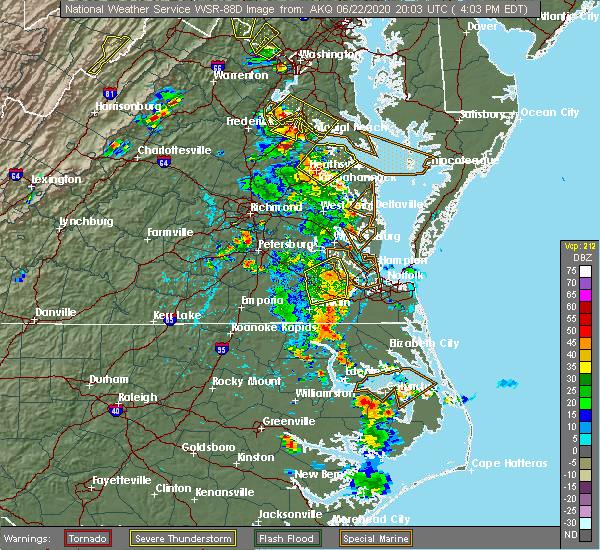 Radar Image for Severe Thunderstorms near Windsor, VA at 6/22/2020 4:08 PM EDT