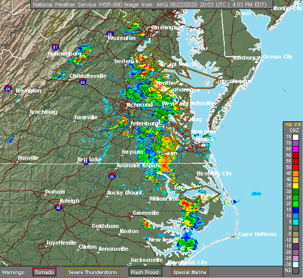 Radar Image for Severe Thunderstorms near Creswell, NC at 6/22/2020 4:14 PM EDT