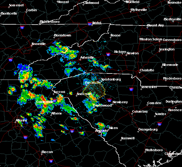 Radar Image for Severe Thunderstorms near Pelzer, SC at 6/22/2020 4:13 PM EDT