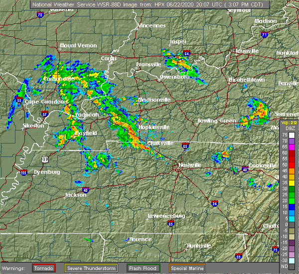 Radar Image for Severe Thunderstorms near Clarksville, TN at 6/22/2020 3:14 PM CDT
