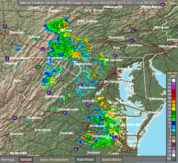 Radar Image for Severe Thunderstorms near Walkersville, MD at 6/22/2020 4:17 PM EDT