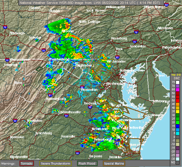Radar Image for Severe Thunderstorms near Germantown, MD at 6/22/2020 4:20 PM EDT