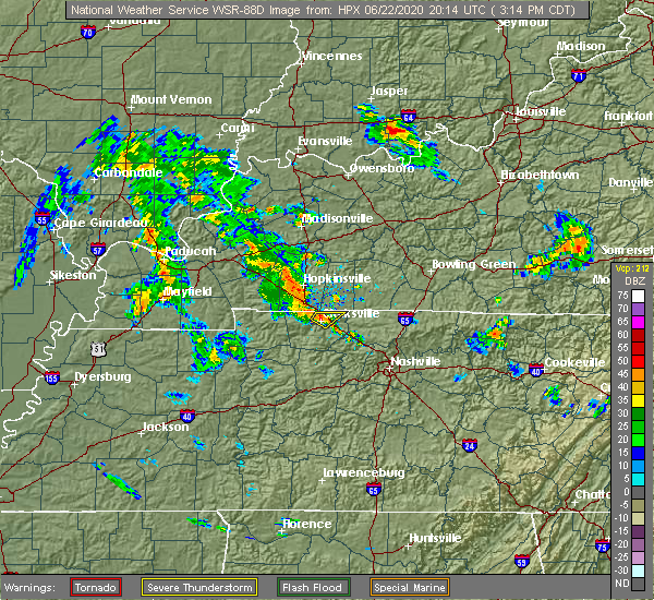 Radar Image for Severe Thunderstorms near Clarksville, TN at 6/22/2020 3:22 PM CDT