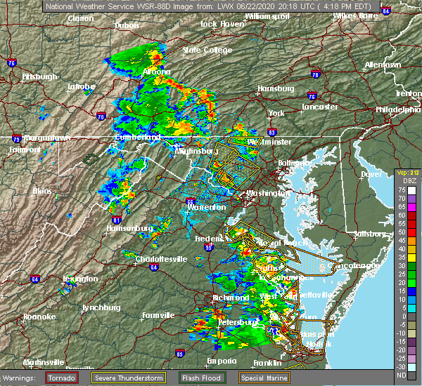 Radar Image for Severe Thunderstorms near Manchester, MD at 6/22/2020 4:28 PM EDT