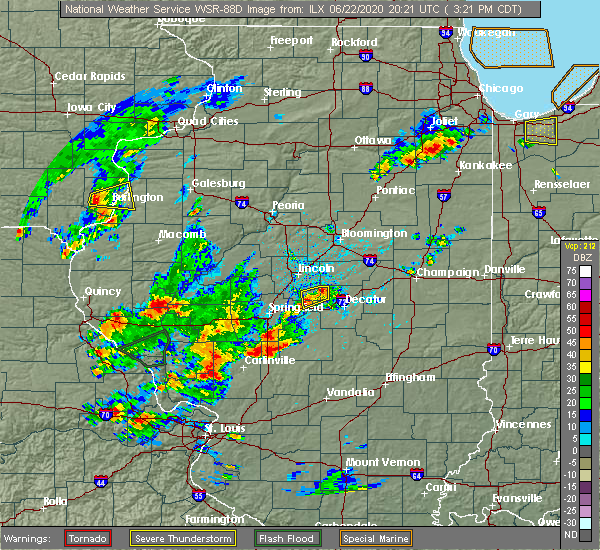 Radar Image for Severe Thunderstorms near Sherman, IL at 6/22/2020 3:30 PM CDT