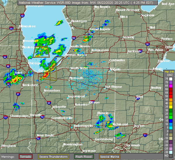Radar Image for Severe Thunderstorms near Wanatah, IN at 6/22/2020 3:33 PM CDT