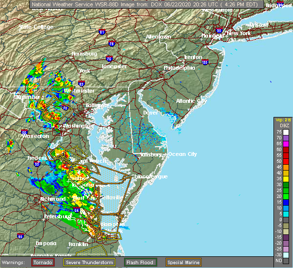Radar Image for Severe Thunderstorms near Long Beach, MD at 6/22/2020 4:34 PM EDT