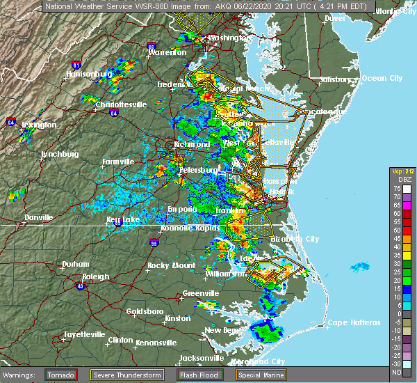 Radar Image for Severe Thunderstorms near Suffolk, VA at 6/22/2020 4:35 PM EDT