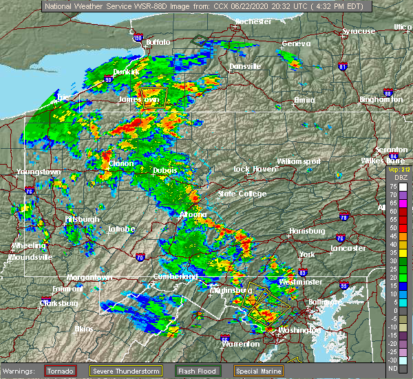 Radar Image for Severe Thunderstorms near Longfellow, PA at 6/22/2020 4:39 PM EDT